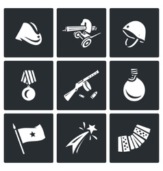 Set of victory day in russia icons vector