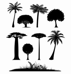 Set trees silhouettes vector