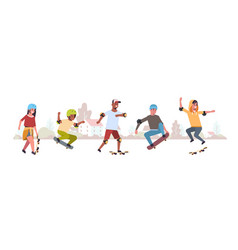 Skaters performing tricks in public skate board vector