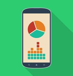 Smartphone phone with a diagram icon Modern Flat vector image
