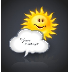 Smiling sun and cloud for vector image