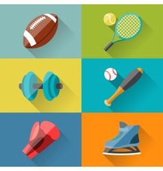 Sport icons in flat design style vector