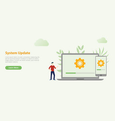 system update design website template banner with vector image