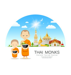 Thai monks bowl and novice buddhism vector