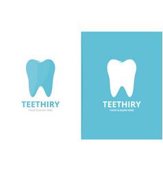 tooth logo combination dental symbol vector image