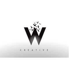 W logo letter with flock of birds flying and vector