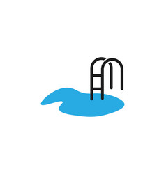 water stair beach swimming pool logo design vector image