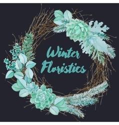 Winter Watercolor Floristic Composition vector image