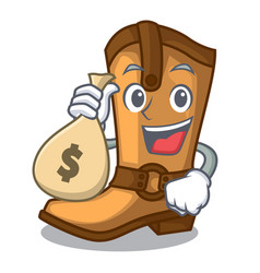 With money bag cowboy boots in the shape cartoon vector