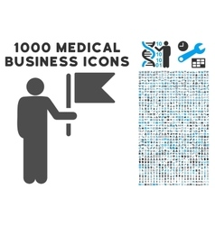 Commander with flag icon with 1000 medical vector