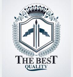 old style heraldry heraldic emblem vector image vector image