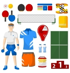 ping pong icons set sport equipment and uniform vector image vector image