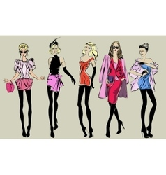 Street fashion woman models in sketch style vector