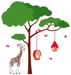 Bird House with Birds and Giraffe vector image vector image