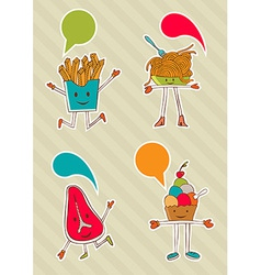 Colourful food cartoons with dialogue balloon vector image vector image