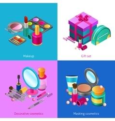 Cosmetics isometric set vector image vector image