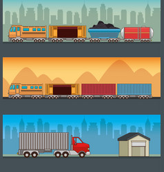 freight transportation and delivery logistic vector image