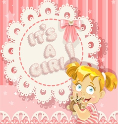 Its a girl pink openwork card vector image vector image