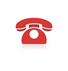 red phone icon with reflection on a white vector image vector image