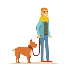 young man holding a dog on a leash colorful vector image vector image