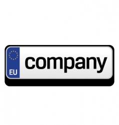 European car plate logo vector image