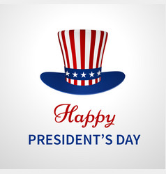 happy presidents day banner with hat vector image