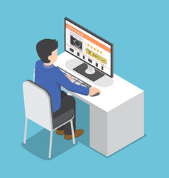 isometric businessman use pc to shopping online vector image