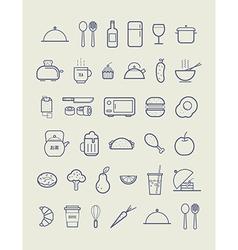 Kitchen icons for cafe menu restaurant vector image