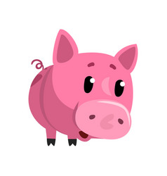 sad pink cartoon baby piglet cute funny little vector image vector image