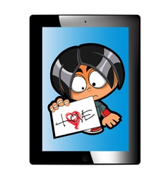tablet with naughty character vector image