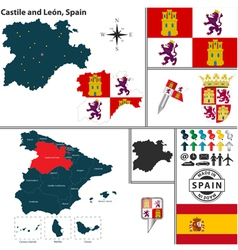 Map of Castile and Leon vector image vector image