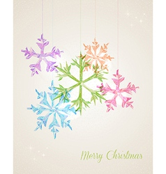 Merry Christmas hanging snowflake greeting card vector image vector image