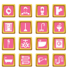 plumbing icons pink vector image