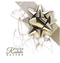 realistic golden bow vector image