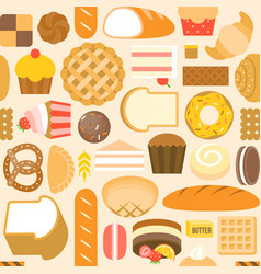 seamless pattern of bakery product vector image