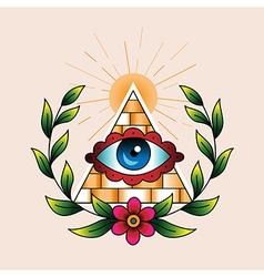 tattoo pyramid vector image