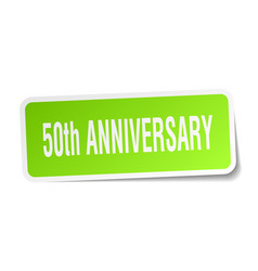 50th anniversary square sticker on white vector