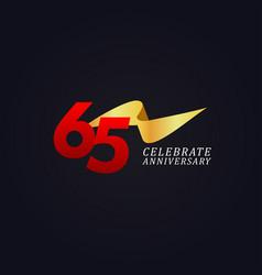 65 years anniversary celebration elegant gold vector
