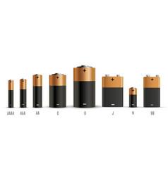 Alkaline batteries realistic style set vector