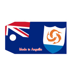 anguilla flag on price tag with word made in vector image
