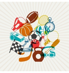 Background with sport icons vector image