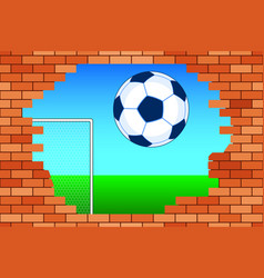 ball and broken wall vector image
