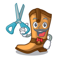 Barber cowboy boots in the shape cartoon vector