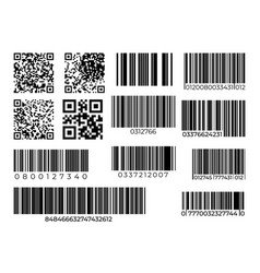 Barcode and qr code set scan bar industrial vector