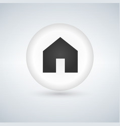 basic web home icon white glossy circle button vector image