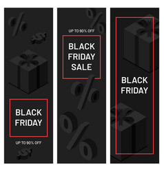 black friday minimalistic banners black gift vector image