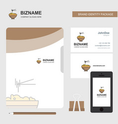 bowl business logo file cover visiting card and vector image