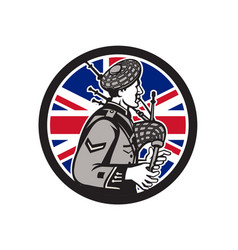 British bagpiper union jack flag icon vector