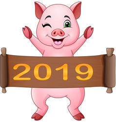 Cartoon little pig with chinese scroll 2019 chine vector