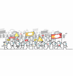 cartoon protesting and walking group people vector image